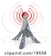 Clipart Illustration Of A Tall Pylon Tower Sending Out Red Waves Or Signals Symbolizing A Strong Network And Connection
