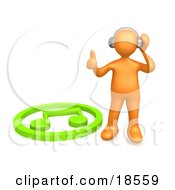 Clipart Illustration Of An Orange Person Listening To Music Through Headphones And Standing By A Green Music Note