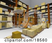 Clipart Illustration Of A Forklift Operator Lifting Boxes Of Supplies Up High Into Shelves In A Warehouse As Two Other Workers Organize Boxes Onto Pallets