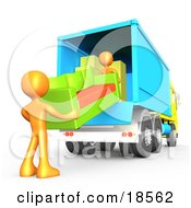 Clipart Illustration Of Two Orange Male Figures Lifting And Loading A Green And Orange Living Room Couch Into A Blue Moving Truck Symbolizing Teamwork