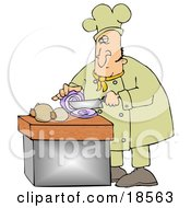 Clipart Illustration Of A White Male Chef Crying While Slicing Purple Onions by Dennis Cox