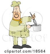 White Male Chef Stirring Food In A Pot With A Whisk