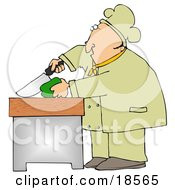 Clipart Illustration Of A White Male Chef Carefully Slicing A Green Bell Pepper