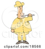 Clipart Illustration Of A White Male Chef Preparing To Taste Food From A Spoon