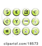 Clipart Illustration Of Set Of Green Financial Icon Buttons With Black And White Icons Including A Dollar Sign Euro Sign And Money Bags