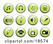 Clipart Illustration Of A Set Of Green Media Icon Web Design Buttons With Black And White Icons Including Music Notes Headphones A Satellite Mp3 Player Radio Cell Phones Sound Icon Microphone Tv And Camera by Rasmussen Images