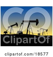 Clipart Illustration Of A Field Of Oil Derricks Or Pump Jacks Silhouetted Against The Evening Sky While At Work In Oil Fields by Rasmussen Images