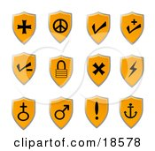 Clipart Illustration Of An Orange Shield Icon Set With Black Icons Of Various Popular Signs And Symbols For Web Design