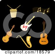 Clipart Illustration Of A Set Of Drums Music Notes An Electric Guitar Violin Saxophone And Acoustic Guitar by Rasmussen Images
