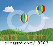 Two Colorful Hot Air Balloons Drifting Over Grape Vines On A Hilly Vineyard Landscape In Napa
