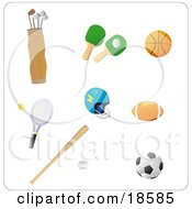 Clipart Illustration Of A Set Of Athletic Gear Including Golf Clubs Ping Pong Paddles A Basketball Tennis Racket Helmet Football Baseball And Bat And Soccer Ball