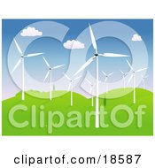 Clipart Illustration Of A Group Of Modern Wind Turbines Or Windmills On A Hilly Landscape