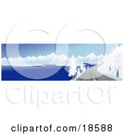Clipart Illustration Of A Curving Mountain Road Meandering Along A Lake Shore And Heading Twoards Snow Covered Mountains In The Winter by Rasmussen Images