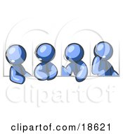 Clipart Illustration Of Four Different Blue Men Wearing Headsets And Having A Discussion During A Phone Meeting