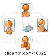 Clipart Illustration Of Orange Men Holding A Phone Meeting And Wearing Wireless Headsets