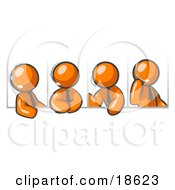 Clipart Illustration Of Four Different Orange Men Wearing Headsets And Having A Discussion During A Phone Meeting by Leo Blanchette