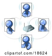 Clipart Illustration Of Blue Men Holding A Phone Meeting And Wearing Wireless Headsets
