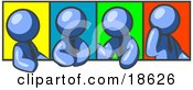 Clipart Illustration Of Four Blue Men In Different Poses Against Colorful Backgrounds Perhaps During A Meeting
