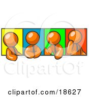Clipart Illustration Of Four Orange Men In Different Poses Against Colorful Backgrounds Perhaps During A Meeting