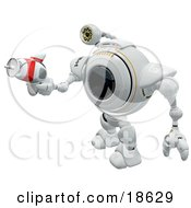 Clipart Illustration Of A Robo Cam Defending Against Spyware And Viruses With A Ray Gun by Leo Blanchette