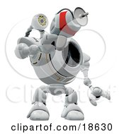 Clipart Illustration Of A Robotic Cam Holding And Pointing A Laser Gun Defending And Protecting Against Spyware by Leo Blanchette