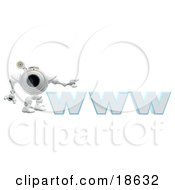 Clipart Illustration Of A Robotic Cam Standing Beside WWW A Secure Website by Leo Blanchette
