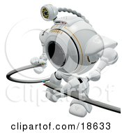 Clipart Illustration Of A Robotic Cam Repairing Broken Cables by Leo Blanchette