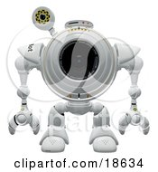 Clipart Illustration Of A Robo Cam Facing Front Waiting For Spyware Or A Virus To Attack