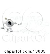Clipart Illustration Of A Robo Cam Standing Against A Circuit Board Background