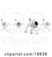 Clipart Illustration Of A Leader Robo Cam In Front Of A Line Of Others Perhaps Defending A Computer Against Spyware