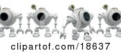 Clipart Illustration Of A Line Of Robotic Cams Walking Behind Another Symbolizing Backup And Anti Spyware