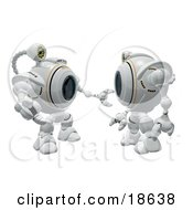 Clipart Illustration Of Two Robo Cams Interacting And Discussing
