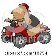 Cool Hound Dog Wearing A Vest And Driving A Bright Red Atv