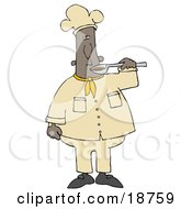 Clipart Illustration Of A Black Male Chef Preparing To Taste Food From A Spoon