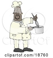 Clipart Illustration Of A Black Male Chef Stirring Food In A Pot With A Whisk by Dennis Cox