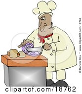 Clipart Illustration Of A Mexican Male Chef Crying While Slicing Purple Onions by Dennis Cox