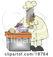 Clipart Illustration Of A Black Male Chef Crying While Slicing Purple Onions