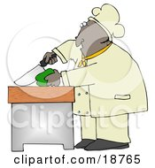 Clipart Illustration Of A Black Male Chef Carefully Slicing A Green Bell Pepper by Dennis Cox