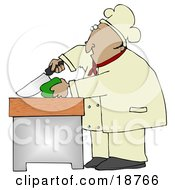 Clipart Illustration Of A Mexican Male Chef Carefully Slicing A Green Bell Pepper by Dennis Cox