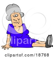 Clipart Illustration Of A Gray Haired Lady In A Blue Dress Dazed And Confused Sitting On The Floor After Taking A Nasty Fall And Injuring Herself At The Office