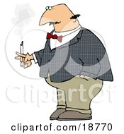 Bald Middle Aged Man Lost In Thought While Smoking A Cigarette