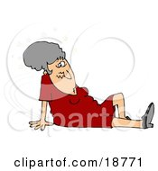 Clipart Illustration Of A Gray Haired Lady In A Red Dress Seeing Stars And Sitting On The Floor After Taking A Nasty Fall And Injuring Herself At The Office