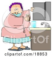 Clipart Illustration Of A White Woman With Her Hair In Purple Curlers Wearing A Pink Robe And Pjs Putting Medicine Back In The Cabinet In Her Bathroom