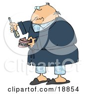 Old Balding White Man In Blue Pjs And A Robe Putting Glue On Or Brushing His False Teeth And Dentures