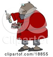 Clipart Illustration Of An Old Balding Black Man In Gray Pjs And A Red Robe Putting Glue On Or Brushing His False Teeth And Dentures