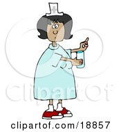 Clipart Illustration Of A Female Latina Nurse In A Blue Dress Holding A Glass Of Water And A Pill For A Patient In A Hospital