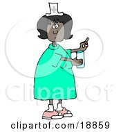 Female African American Nurse In A Green Dress Holding A Glass Of Water And A Pill For A Patient In A Hospital