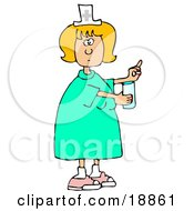 Female Caucasian Nurse In A Green Dress Holding A Glass Of Water And A Pill For A Patient In A Hospital