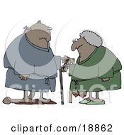 Clipart Illustration Of A Saggy Old African American Couple Wearing Robes Using Canes