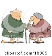 Clipart Illustration Of A Saggy Old Caucasian Couple Wearing Robes Using Canes